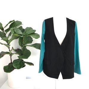 3/$30 Two Tone Black and Teal Button Blazer